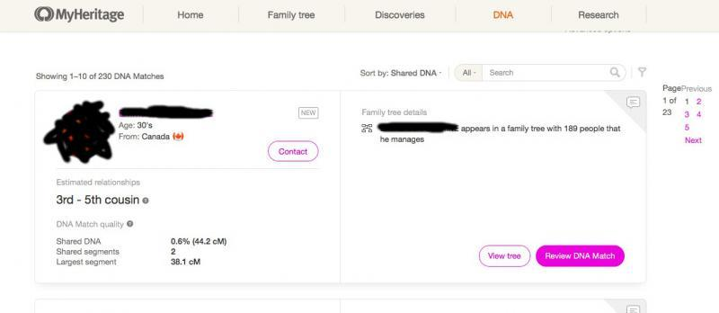 A genetic cousin card (the photo and its identity were hidden) on MyHeritage.com