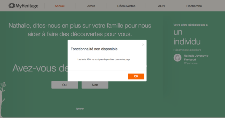 Capture of Myheritage.com screen, purchase of DNA kit from France