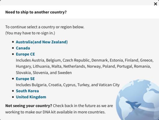 Sur le site Ancestry.com, les pays autorisés pour la livraison sont indiqués dans une fenêtre pop up. La France n'en fait pas partie.