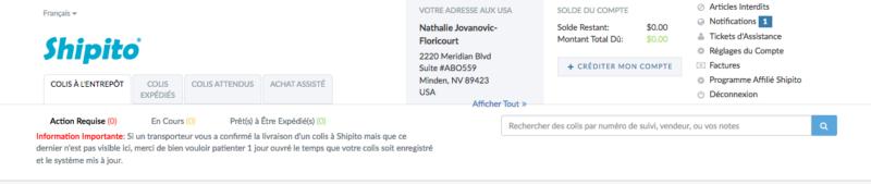 Mon adresse de livraison Shipito aux Etats Unis, dans le Nevada.