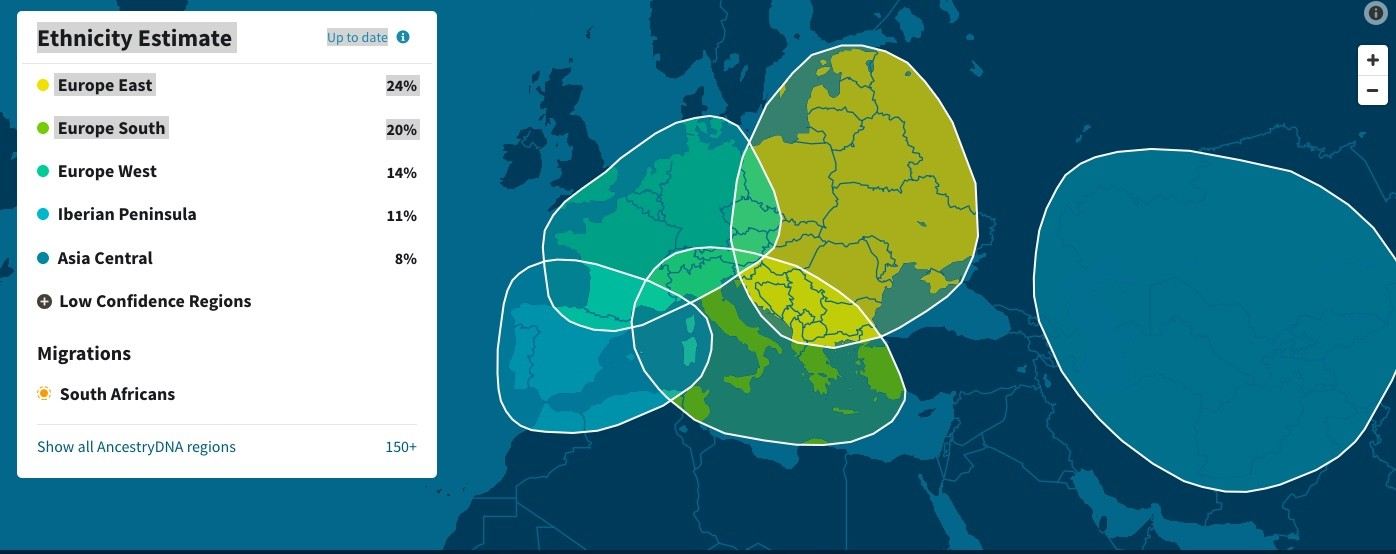My ethnic results on Ancestry