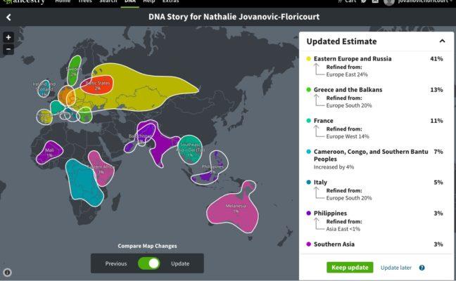 La première page de mes résultats ethniques mis à jour par Ancestry