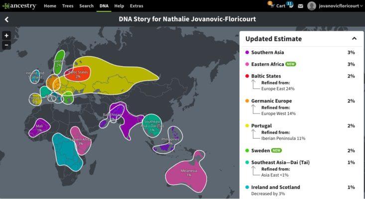 La deuxième page de mes résultats ethniques mis à jour par Ancestry