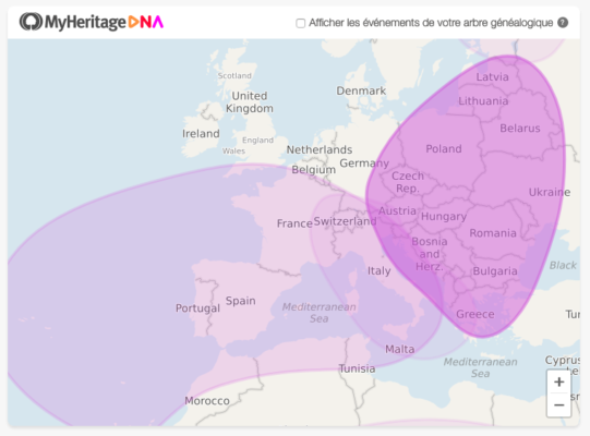 The mass of ethnic origins established by MyHeritage