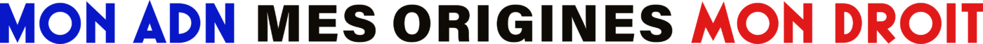 Logo Mon ADN Mes Origines Mon Droit, Pour la légalisation des tests génétiques généalogiques en France