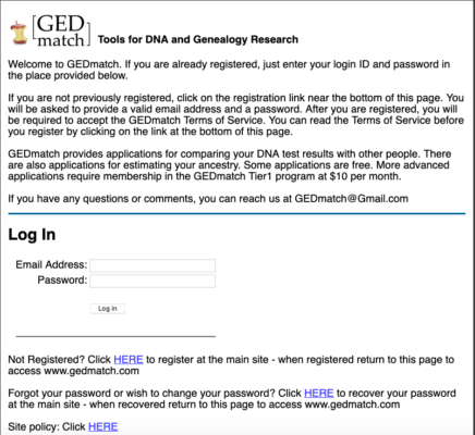 Gedmatch homepage