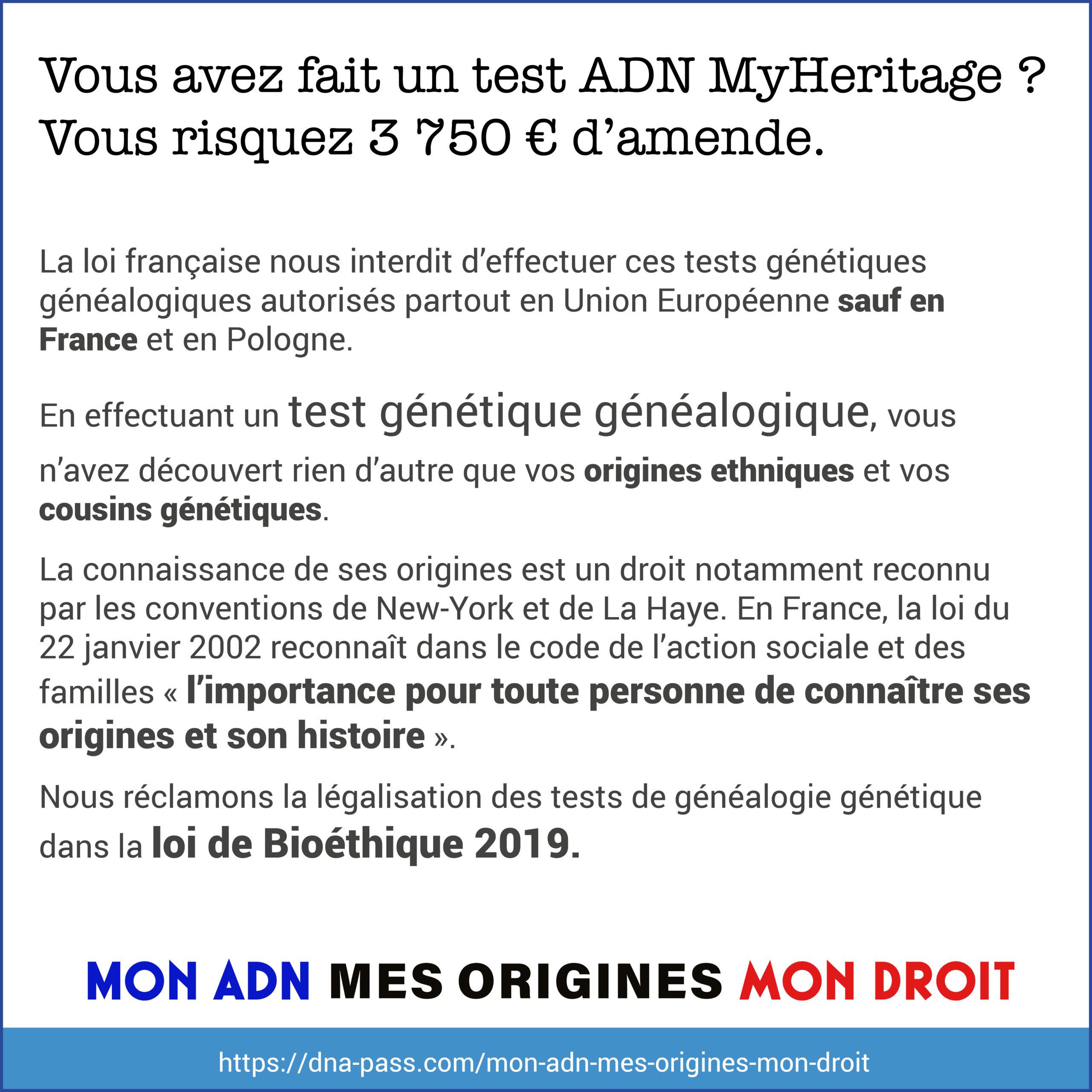 J'ai fait un test ADN MyHeritage, je risque 3750 euros d'amende