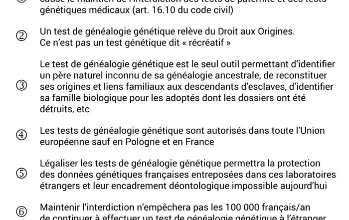 Six arguments pour la légalisation des tests de généalogie génétique en France