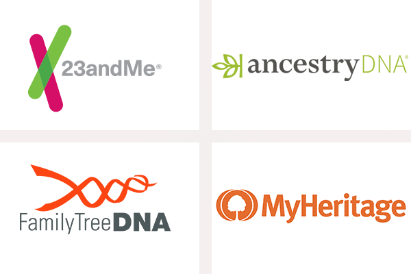Logos de 23andMe, AncestryDNA, FamilyTree DNA et MyHeritage