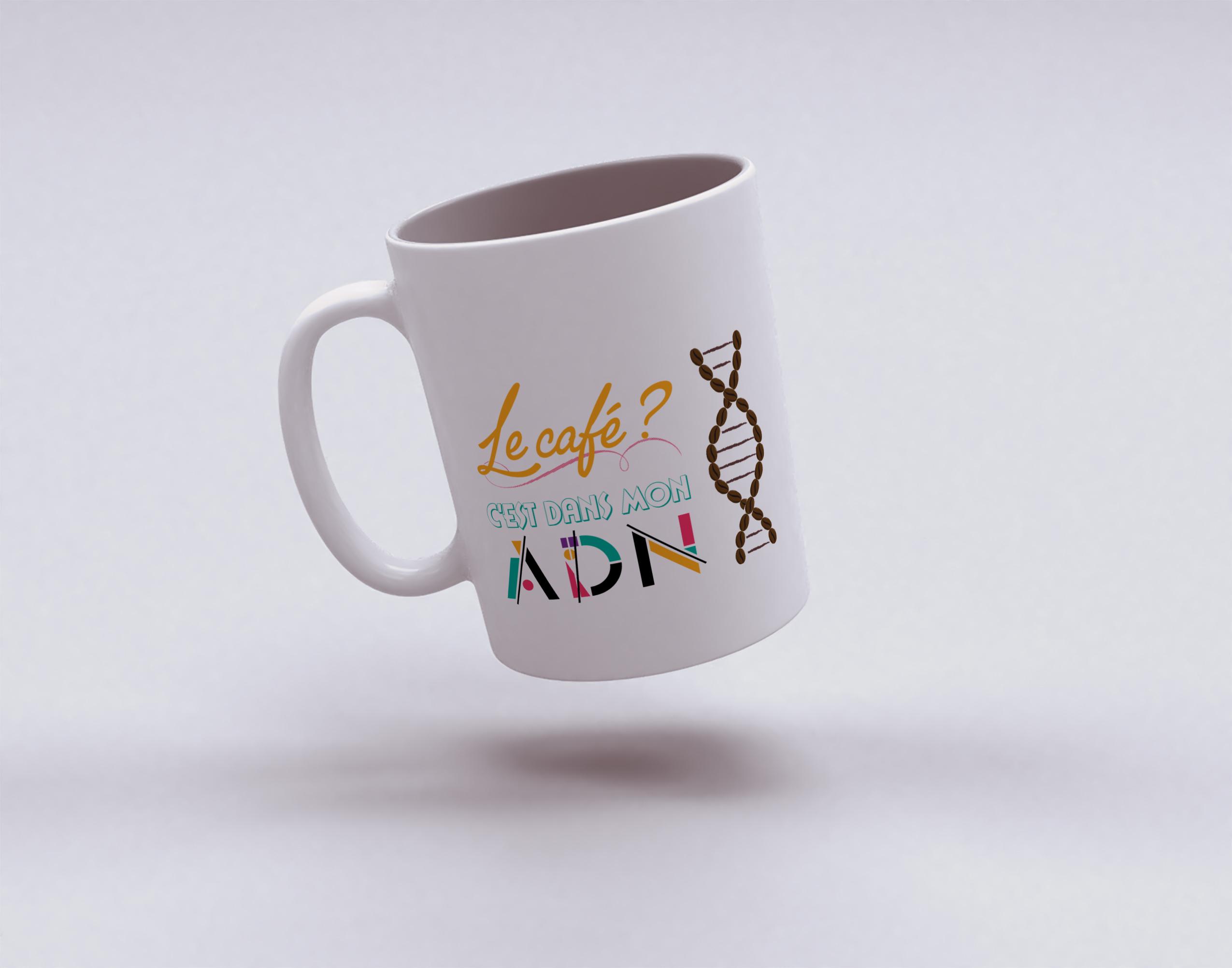 """Mug """"Le café, c'est dans mon ADN"""""""