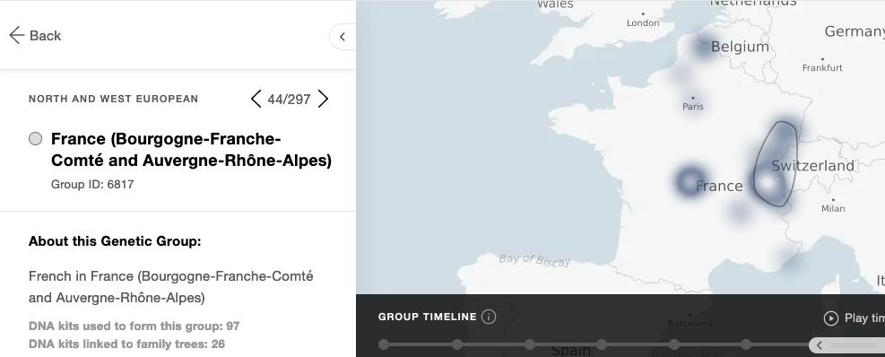 Enfin un groupe génétique plus précis sur deux régions françaises : la Bourgogne Franche Comté et l'Auvergne Rhône Alpes