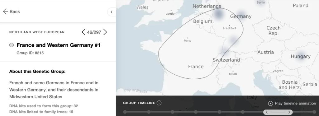 Le groupe génétique France et Allemagne de l'Ouest chez MyHeritage