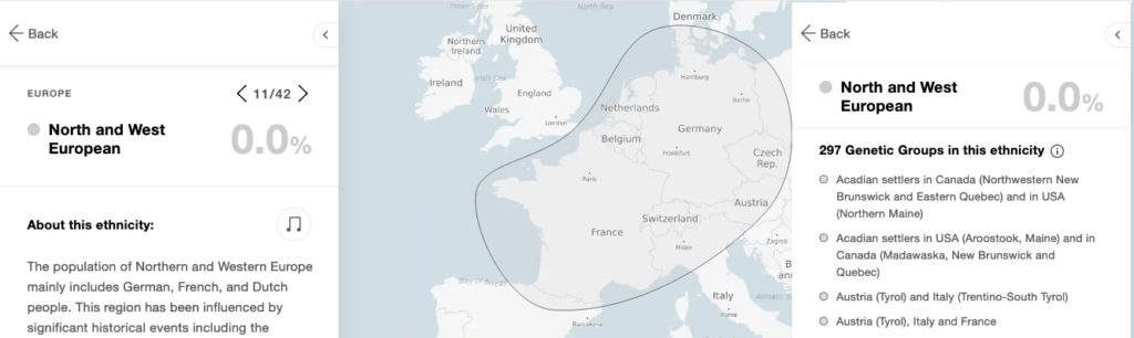 Les différents pays composant la zone géographique d'Europe de l'Ouest et du Nord selon MyHeritage